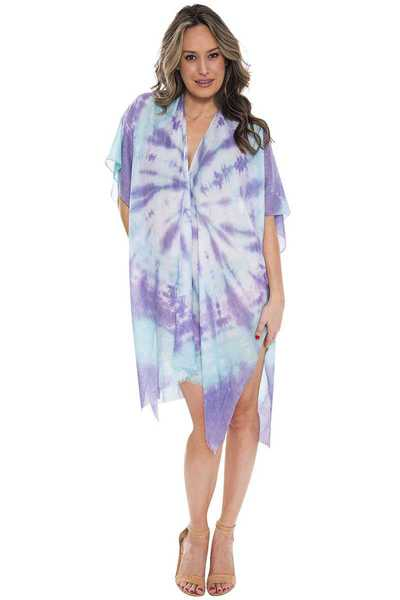 TIE DYE PRINT BEACH COVER UP CARDIGAN