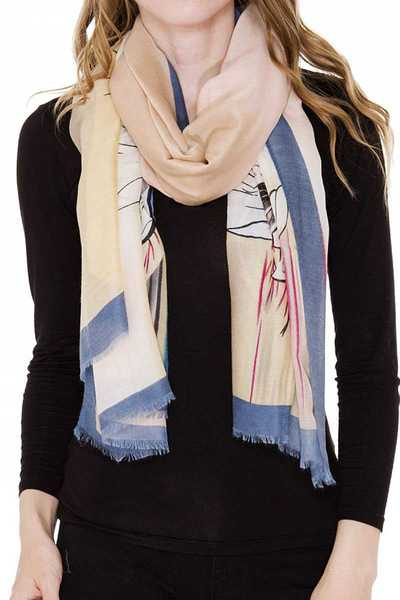 Floral Print Light Oblong Scarf with short fringe