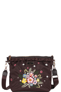 NICOLE LEE ADIRA EMBROIDERY GARDEN NYLON WITH LEATHER TRIMMING CROSSBODY BAG