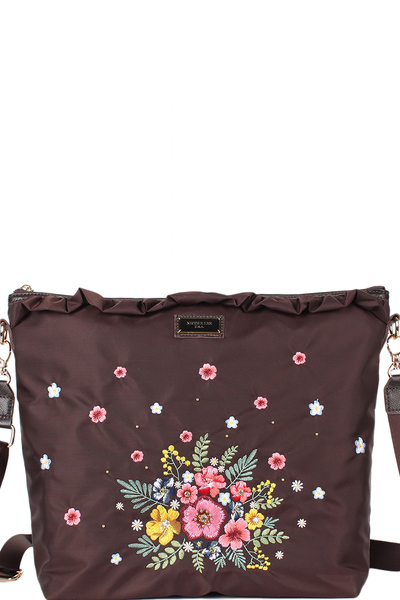 NICOLE LEE ADIRA EMBROIDERY GARDEN NYLON WITH LEATHER TRIMMING MESSENGER CROSSBODY BAG