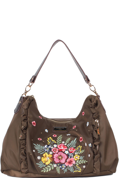 NICOLE LEE ADIRA EMBROIDERY GARDEN NYLON WITH LEATHER TRIMMING SHOULDER BAG