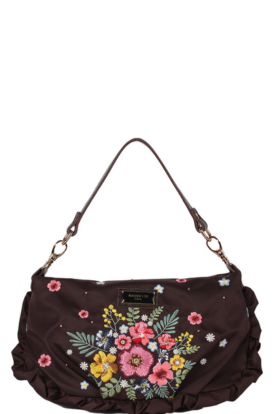 NICOLE LEE ADIRA EMBROIDERY GARDEN NYLON WITH LEATHER TRIMMING MINI HANDBAG