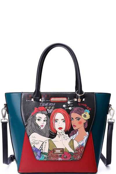Nicole Lee NEVER STOP PRINT TOTE WITH LONG STRAP