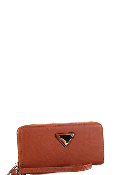 Triangle Logo Zip-around Slim Wristlet Wallet