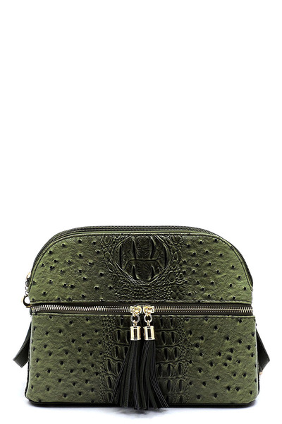 Ostrich Zip Tassel Multi Compartment Crossbody Bag