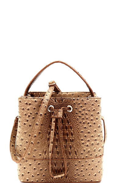 Ostrich Embossed String Accent 2-Way Bucket Satchel
