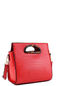 Crocodile Print Cut-out Handle Medium Satchel