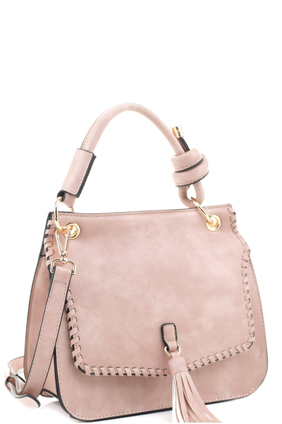 Tassel Accent Whipstitched 2-Way Flap Satchel