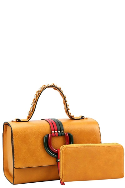 Striped Classy Hoop Accent Top-Handle Boxy Satchel Wallet Set