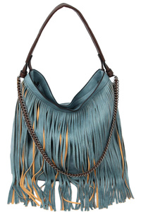 Chain Accent Classy Boho Fringed 2-Way Hobo