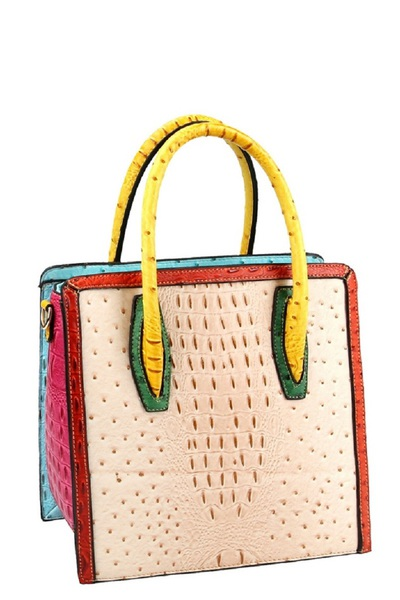 Color Block Ostrich Crocodile Print Tall Satchel