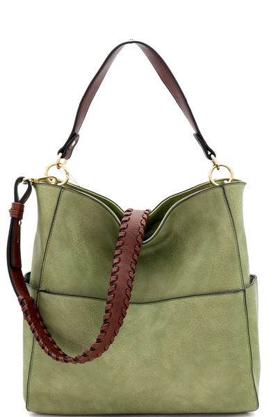 Whipstitched Strap Multi-Pocket 2-Way Large Hobo