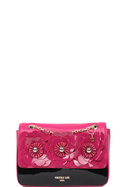 NICOLE LEE DREW PATENT FLORAL CHAIN CROSSBODY