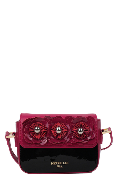 NICOLE LEE DREW PATENT FLORAL MINI CROSSBODY
