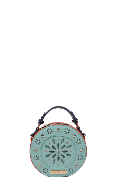 NICOLE LEE ASTRID FLORAL LASER CUT MINI BAG