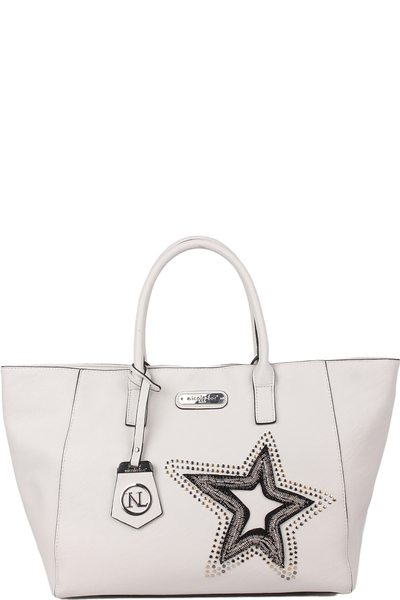 NICOLE LEE BRONA GLITZ STAR PATCH SHOPPER BAG