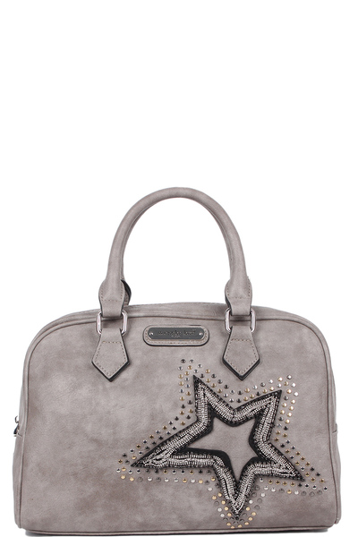 NICOLE LEE BRONA GLITZ STAR PATCH BOSTON BAG