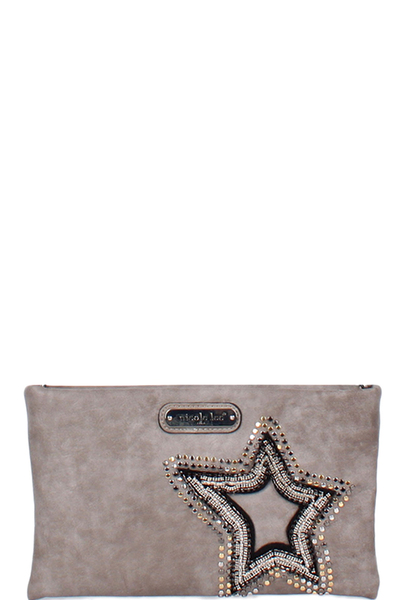 NICOLE LEE BRONA GLITZ STAR PATCH CROSSBODY BAG