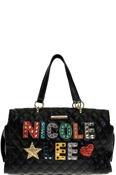 NICOLE LEE PATCH QUILTED HANDBAG