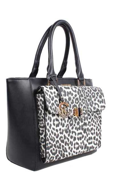 Nicole Lee Animal Print Front Satchel Bag