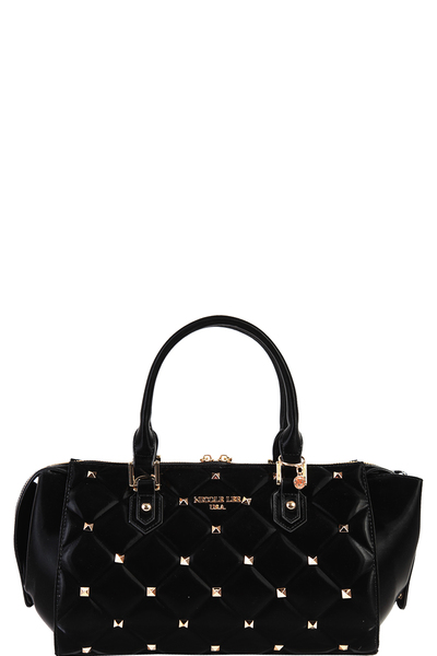 NICOLE LEE STUDDED QUILTED HANDBAG