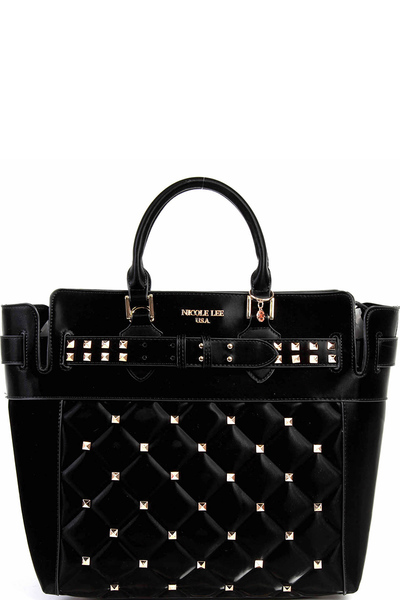 NICOLE LEE STUDDED QUILTED TOTE BAG