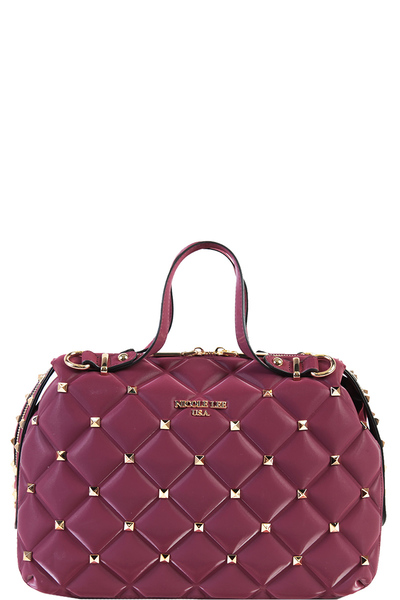 NICOLE LEE STUDDED QUILTED BOSTON BAG