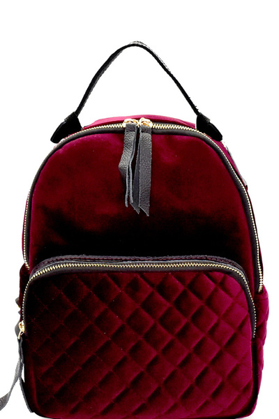 Leather-Trim Quilted Multi Pocket Velvet Backpack