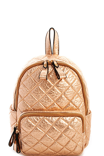 Cute Quilted Designer Glossy Backpack