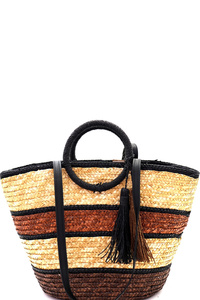 Multi-Color Striped Straw Round Handle 2-Way Tote