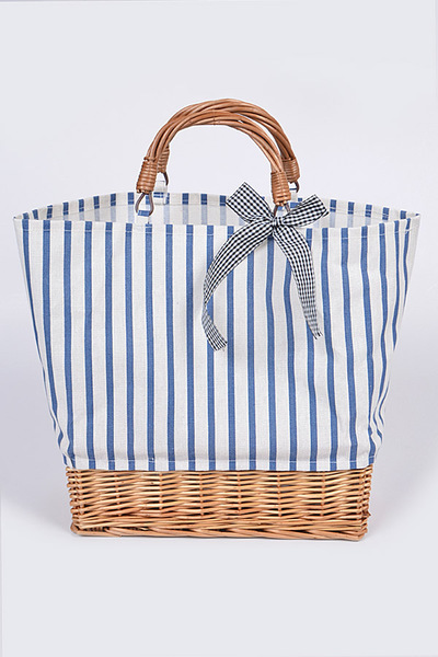 Stripe Canvas Tote Bag With Basket Detail