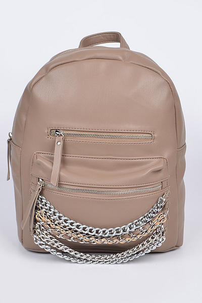 Chain Detail Leather Backpack