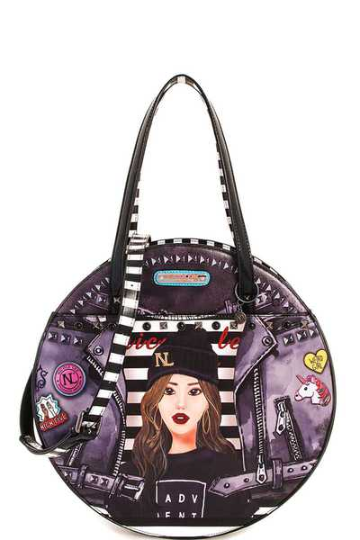 Nicole Lee Paola PRINT CIRCLE HANDBAG