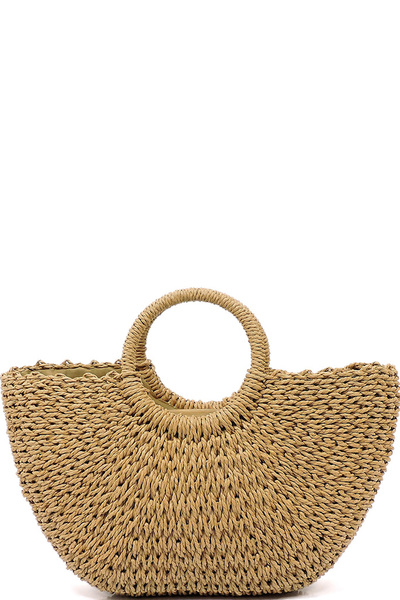 Straw Round Top Handle Tote