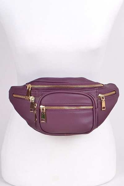 Plain Fanny Pack With Zipper and Chain Details