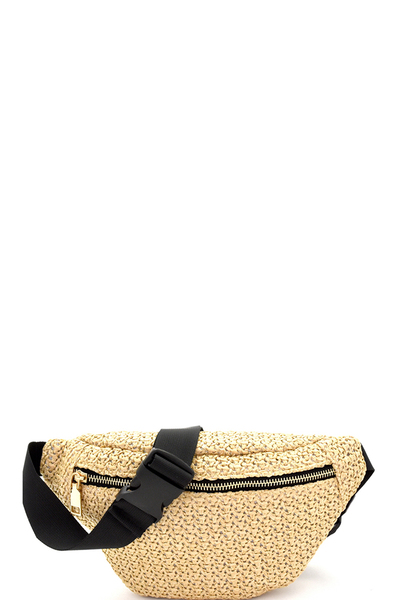 Woven Straw Fashion Fanny Pack Belt Bag