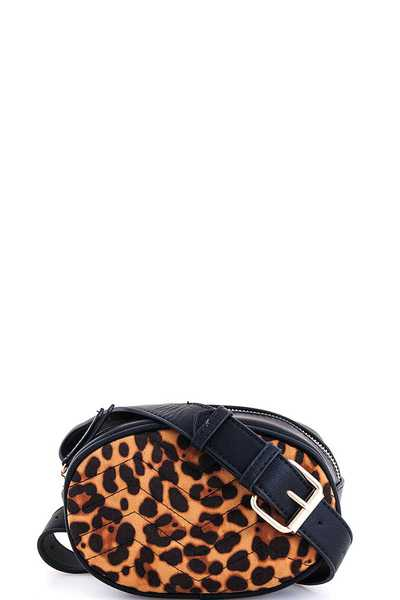 Cute Leopard Oval Crossbody Waist Bag