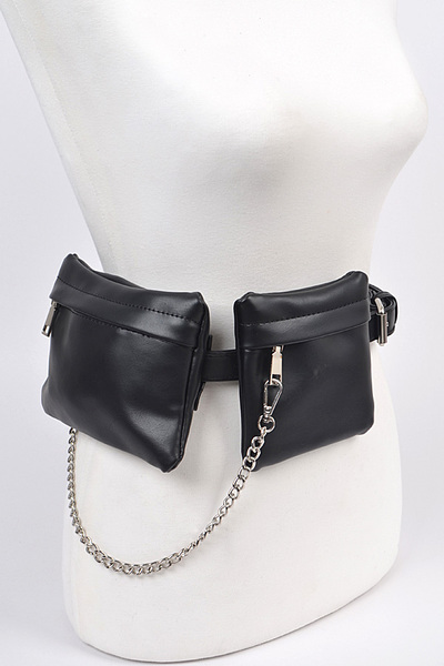 Leather With Chain Fanny Pack