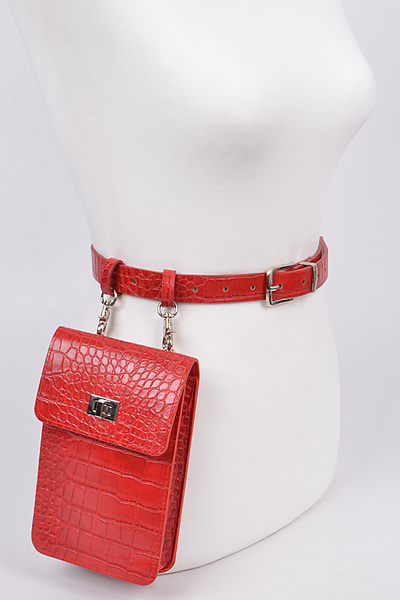 Snakeskin Print Removable Pouch Belt