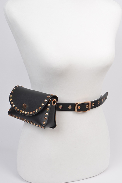 Studded Faux Leather Fanny Pack