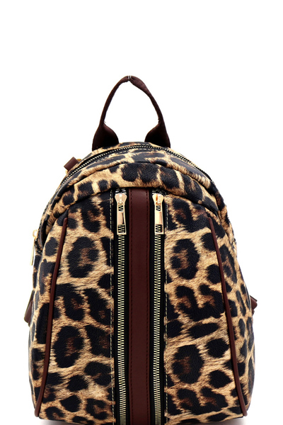 Leopard Print Convertible Backpack Shoulder Bag