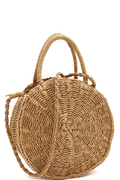 Woven Straw 2-Way Bohemian Round Circle Satchel