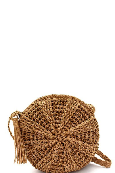 Tassel Accent Knitted Straw Bohemian Round Cross Body