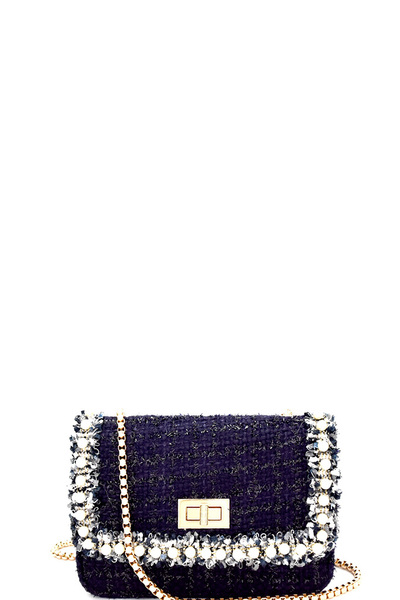 Pearl Embellished Tweed Turn-Lock Shoulder Bag