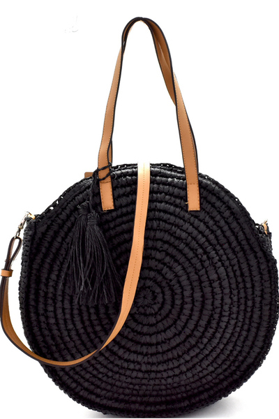 Circled Pattern Straw Tassel Round Tote