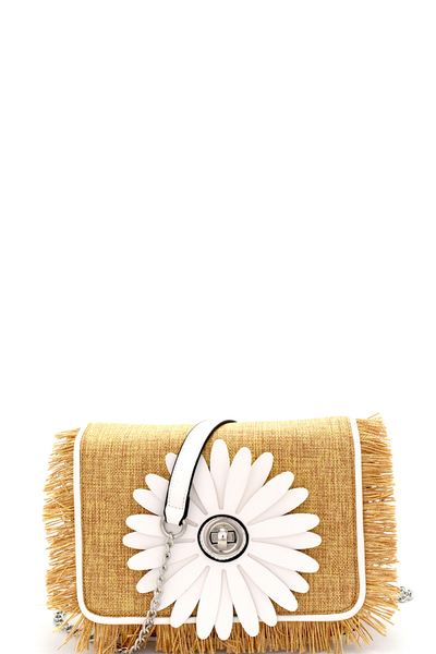 Turn-lock Flower Accent Frayed Straw Flap Cross Body