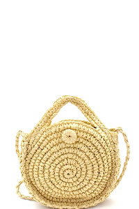 Circle Patterned Woven Straw Bohemian Round Cross Body