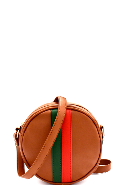Stripe Accent Round Cross Body