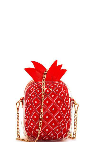 2in1 Trendy Pineapple Lovers Clutch Crossbody with Long Chain