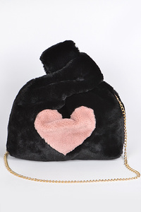 Faux Fur Clutch With Heart Detail